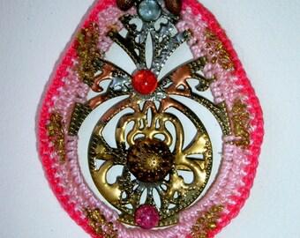 Pendant Aruna * metal pink cotton