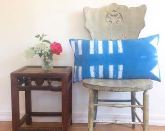 Cotton shibori indigo bars and triangles pillow
