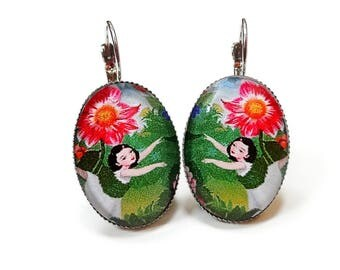 Oval earrings colorful flowers