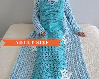 Princess Dress Blanket, Crochet Blanket Pattern, Frozen crochet pattern, Elsa Dress Crochet Pattern, Frozen Blanket Pattern, Woman size