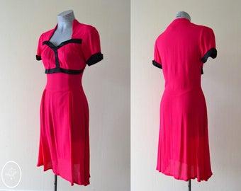 Carmen Dress Hot Pink 1940's Inspired Viscose Rayon Dress