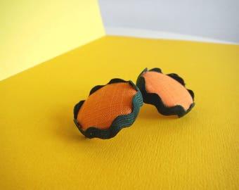 Earrings Orange Button series