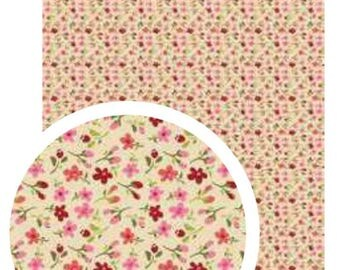 A4 fabric adhesive flower patterns on beige background
