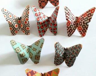 7 paper origami butterflies Japanese vintage