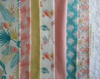 """Sewing Kit to make 7 cloth wipes printed """"tropical"""" pastels and 400 mg white Terry cloth"""