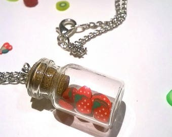 Small vial necklace Strawberry on chain
