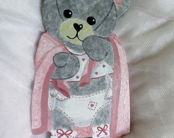 Gray crumb Super plush bear in wood and paper