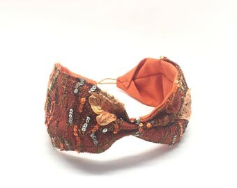 turban style boho Orange, fascinators for wedding