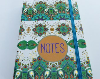 Hardcover notebook green white and gold 11 x 16, 5 cm arabesque