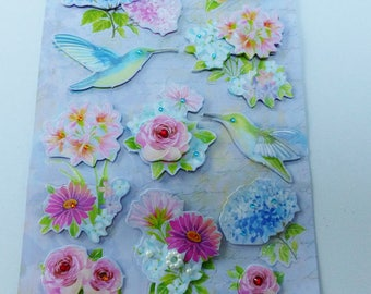sheet of stickers 3D flower and Hummingbird in relief with Rhinestones