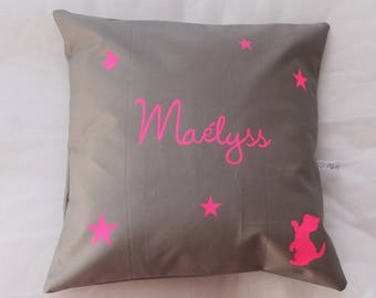 "Cushion customize square neon pink writing ""stars"""