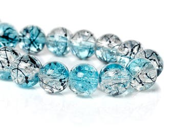 5 beads in sky blue glass 10mm