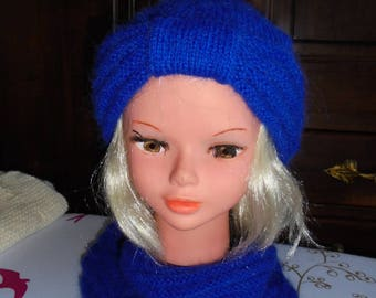 Blue mohair wool, hand made turban style hat