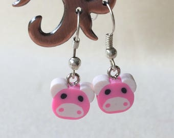 Cute little pink piggy fimo bead dangle drop earrings handmade