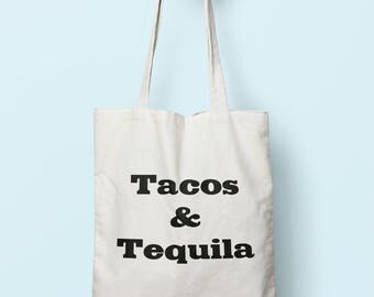 Tacos & Tequila Tote Bag Long Handles TB0027