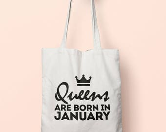 Queens Are Born In January Tote Bag Long Handles TB1481