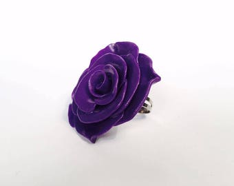 Pink Purple - polymer clay ring