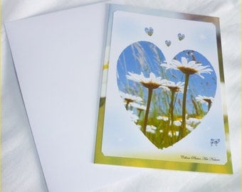 "Double 10 5x15cm made from photos of Daisies ""Daisy heart"""