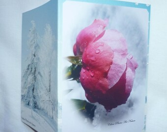 """Double 10 5x15cm made from a photo of a rose and snow """"rose and snow"""""""