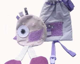 Chick gray blanket + bag + pacifier