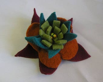 exploded multicolored felted wool flower brooch