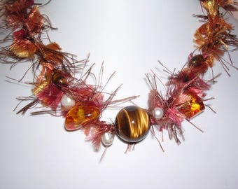 OOAK Tiger eye stone necklace, amber and pearls