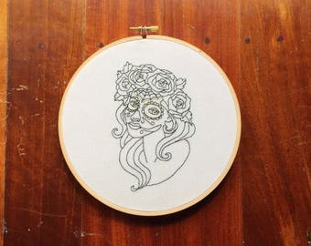"Tattoo Embroidery Hoop ""Flower Crown"" Hand Stitched // Black and Gold ~ Home Decor ~ Wall Art ~ Modern Embroidery ~ Day of the Dead"