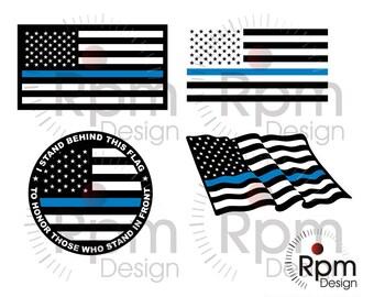 Thin Blue Line Flag SVG File, Thin Blue Line Cut, Police SVG, Police CUT, Blue Lives Matter, Cricut, dxf file, Digital File, Download