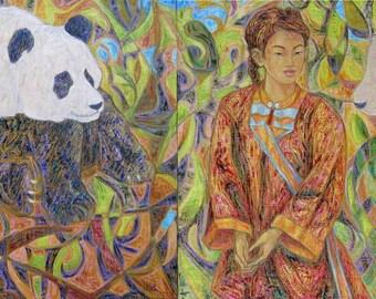 Miao pandas - original painting diptych of Chinese inspiration