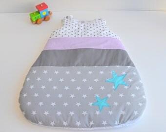 Sleeping bag sleeping bag 0-6 months handmade stars grey green and purple @lacouturebytitia
