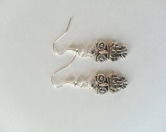 """""""little owls"""" earrings in silver"""