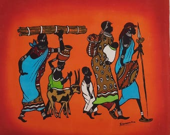 African Candle Wax Batik Artwork, Vintage Africa, Wall Art, Batik Painting
