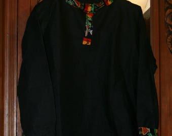 men's shirt long sleeve black linen