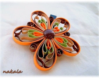 Bohemian hair accessory vintage varnished and hardened paper flower barrette hair clip