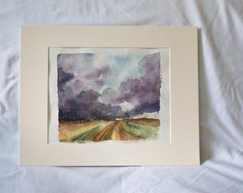 Original Stormy Sky Watercolor Painting