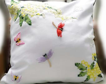 Pillow , White canvas Green Leaves, yellow flower Embroidered Pillow Case, Floral Cushion Cover, Botanical Pillow dragonfly butterfly