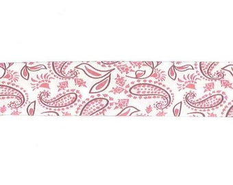 Fancy satin Paisley pink by the yard