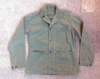 RARE! 1940s WWII USN N-3 herringbone twill chore jacket / stencil / hbt / militaria / U.S. Navy / p-41 / workwear