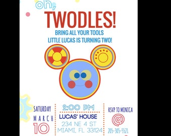 Toodles Invite, Twoodles Invite, Mickey Invitation, Mickey Party, Mickey Birthday, Twodles Party, First Birthday
