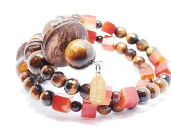 Tiger eye, Carnelian, and coconut bracelet