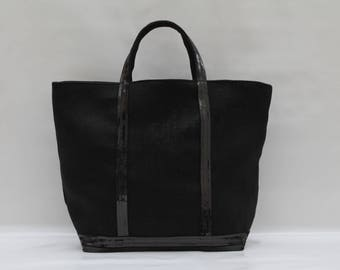 The bag in 100% black linen with black sequins