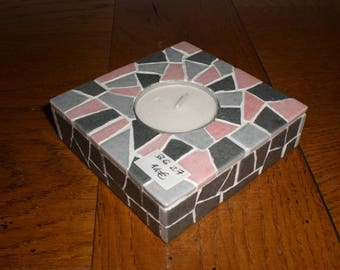 The pink and gray tones Square candle holder