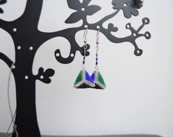 Blue Pearl Earrings green and black