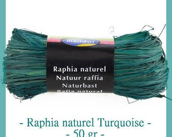 Natural raffia color teal blue with 50 g