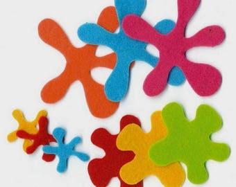 Set of 18 small spots of felt 8.2 cm in 5 colors POP - ARTEMIO.