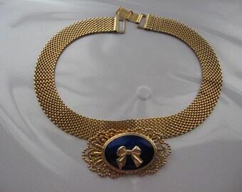Vintage REINAD 1950s Victorian Filigree Centerpiece Choker Necklace!