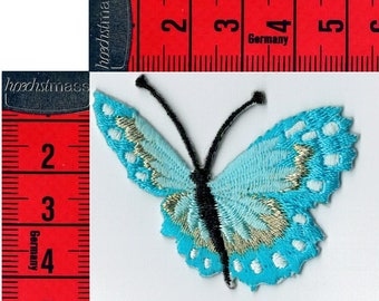 Turquoise blue butterfly embroidered iron or sew patch. Patch applique
