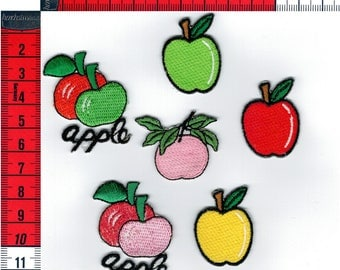 6 badges assorted apples melt or sew on Patch Applique