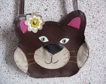 Kids bag or pouch Handmade Leather cat.