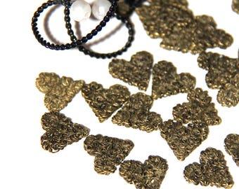 Bronze colored wire heart pendant